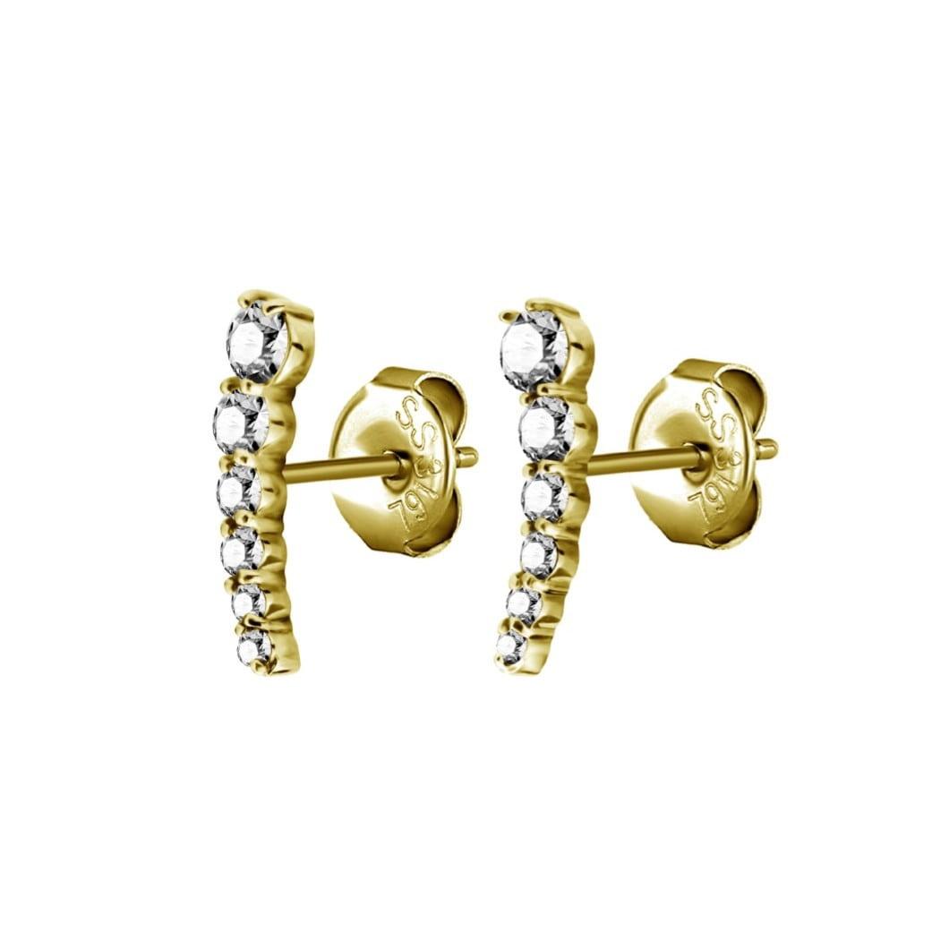 Örhänge - båge - 6 kristaller - guld