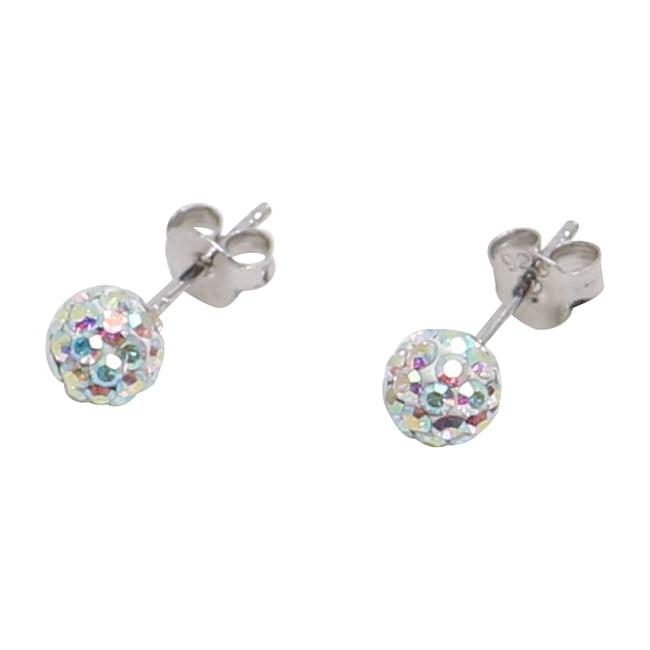 Silverörhängen, 4 mm, pärlemorskimrande swarovskikristaller