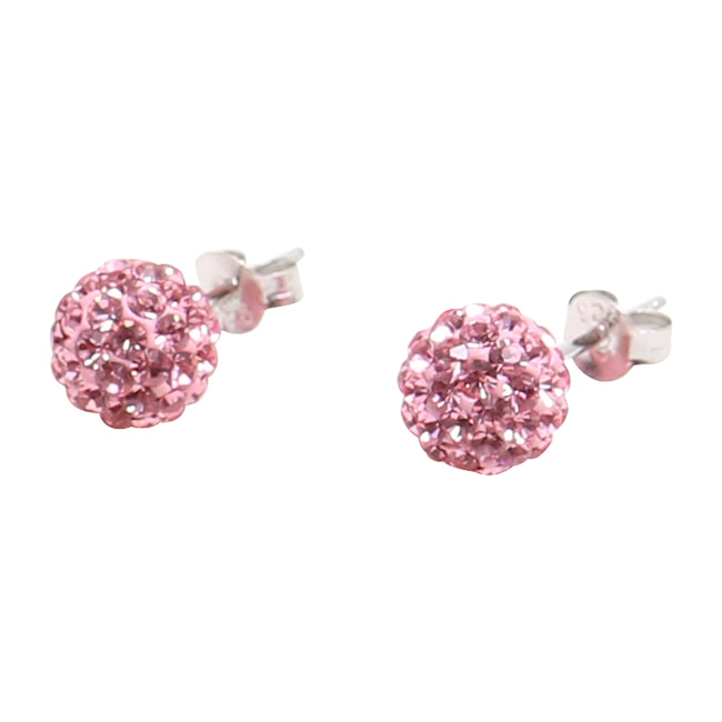 Silverörhängen, 4 mm med rosa swarovskikristaller