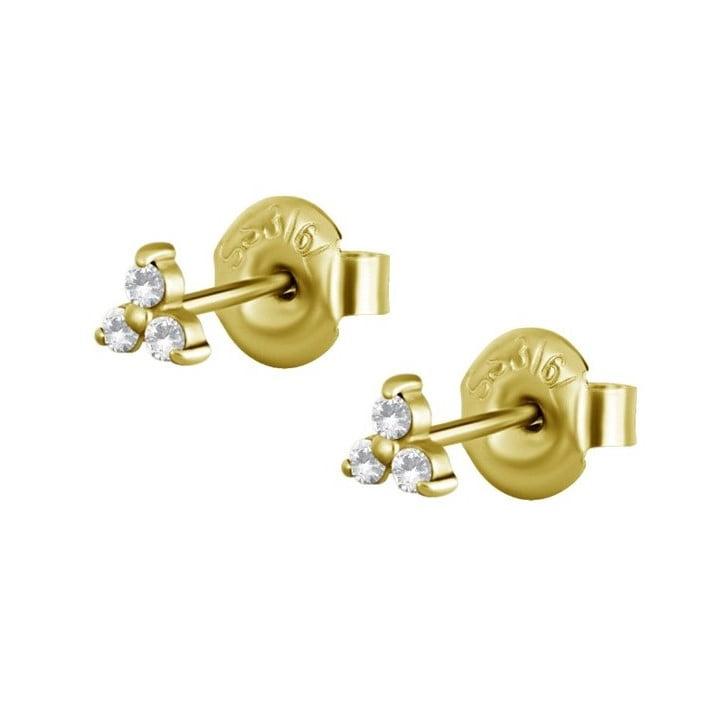 Örhänge - trinity - kirurgiskt stål - 24K guld PVD
