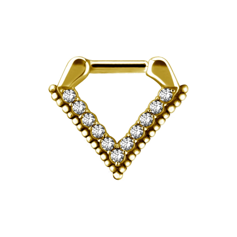 Clicker - guld - triangel - kristaller