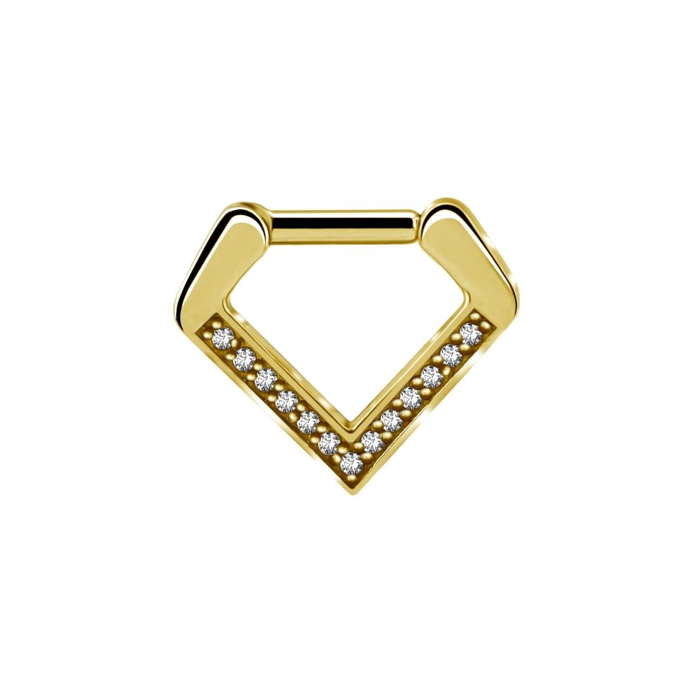 Clicker - 1,2 mm, guld - triangel - kristaller