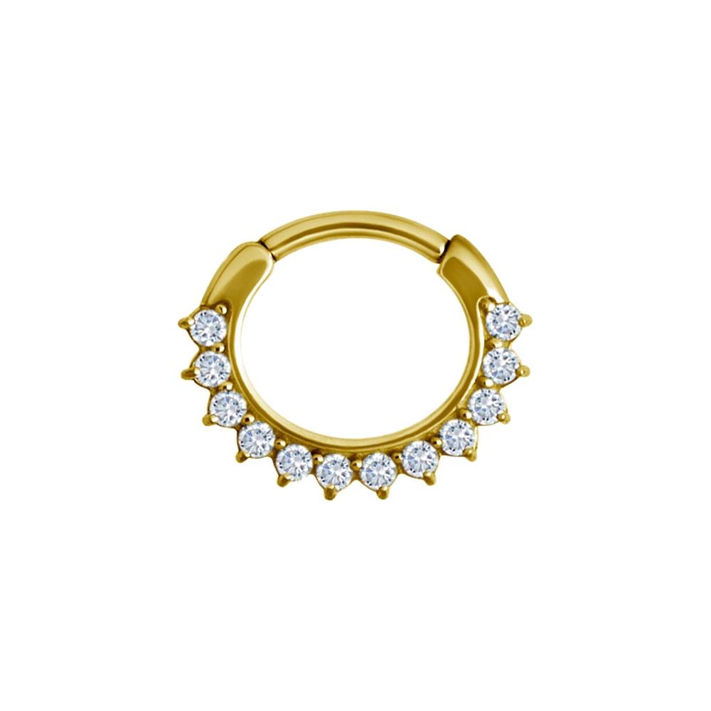 Clicker curved large - 1,2 - 8 mm - guld med vit kristall