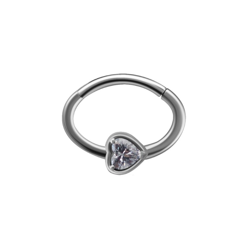 Clicker - hjärtformad kristall - höger sida - stål