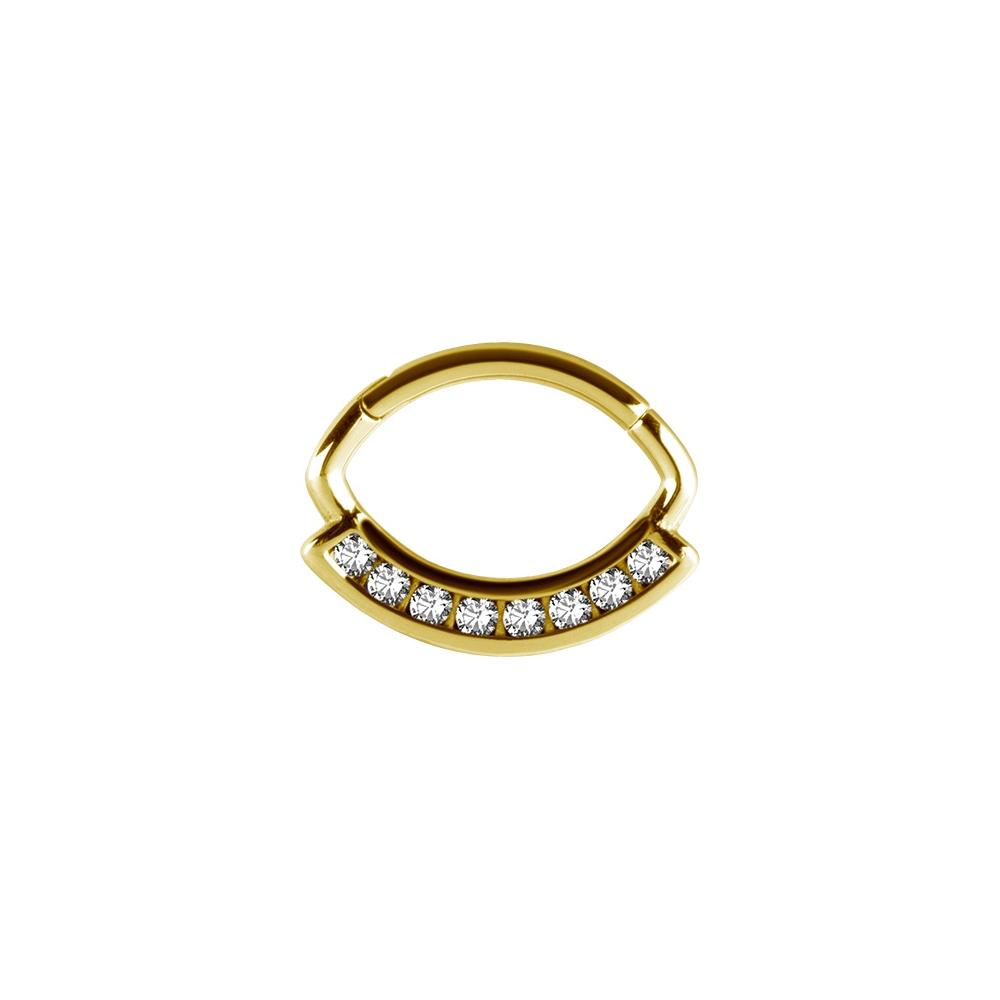 Clicker - 1,2 mm - guld - vita kristaller