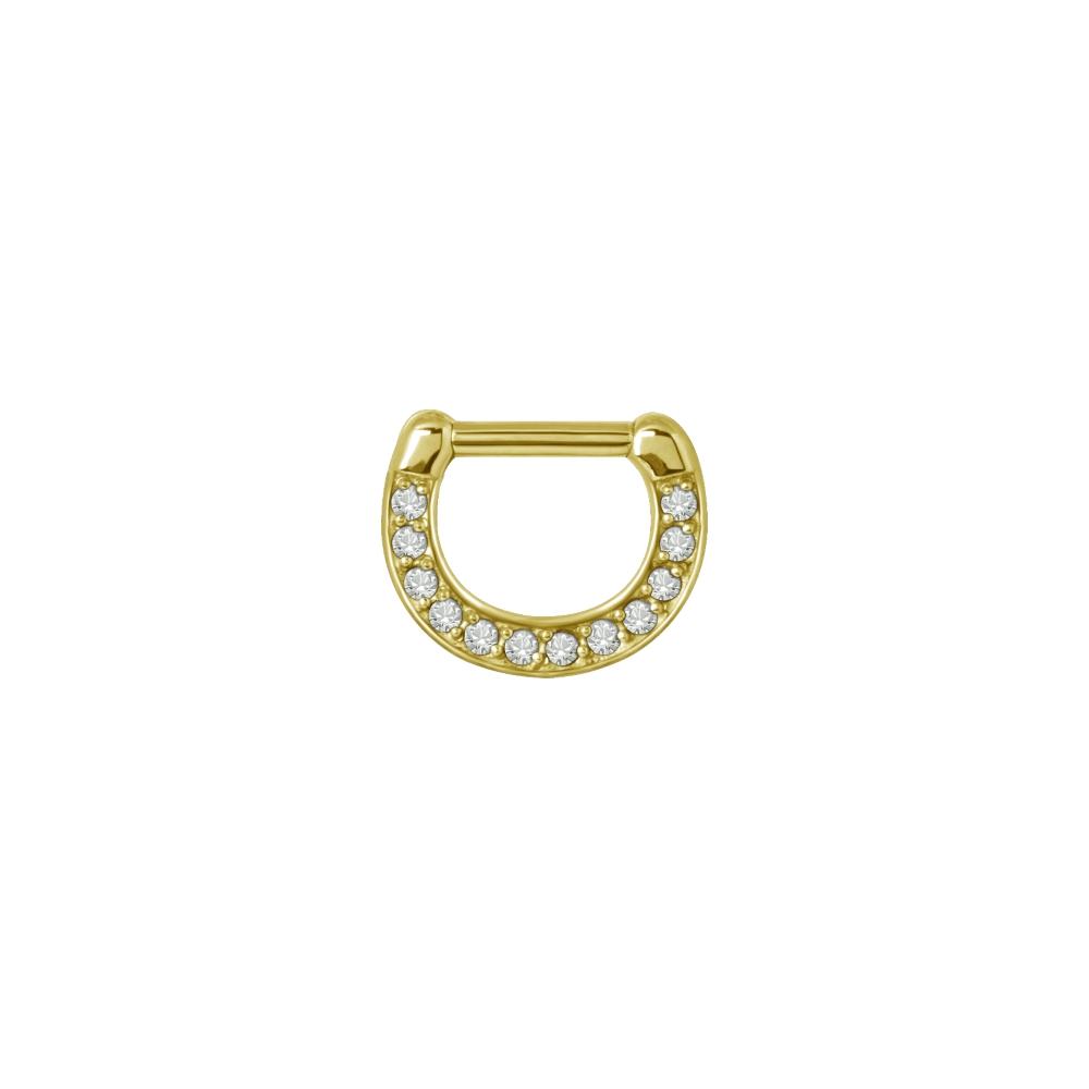 Clicker - 1,6 - 6 mm - guld med vit kristall