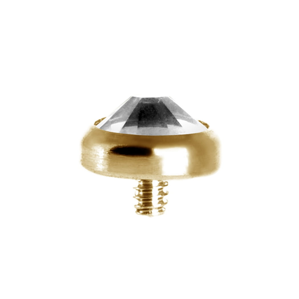 Topp - 3 mm swarovskikristall - 18K äkta guld - dermal anchor