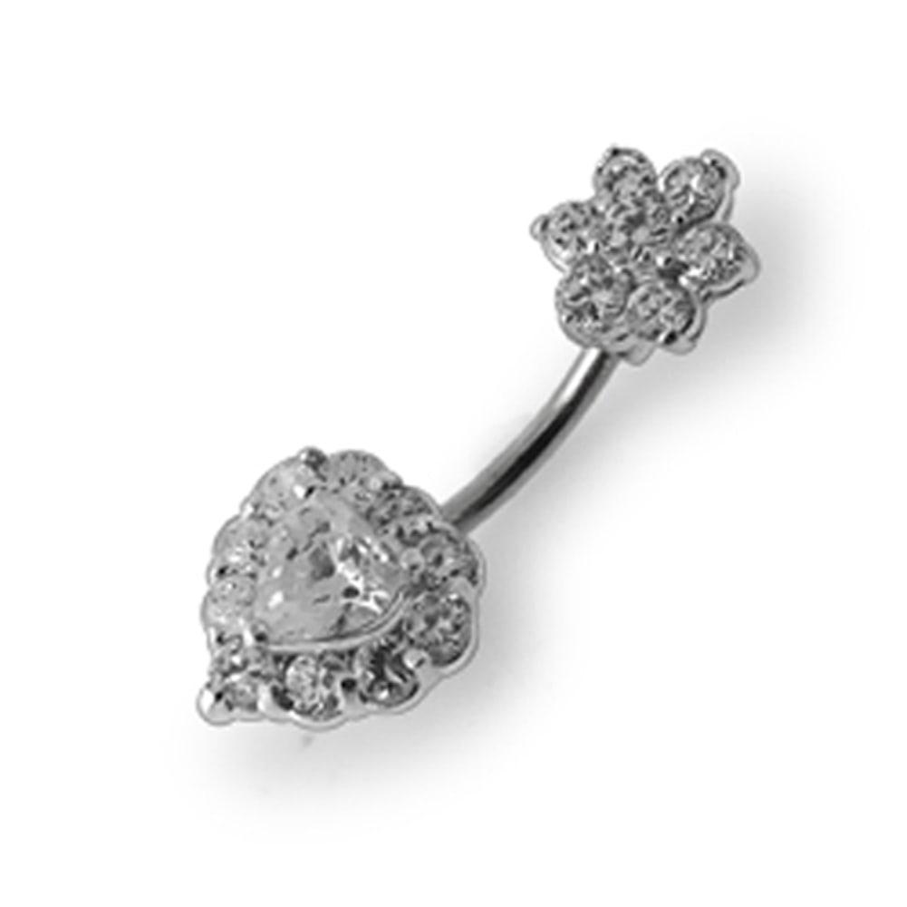 Navelpiercing - blomma och hjärta med swarovskikristaller