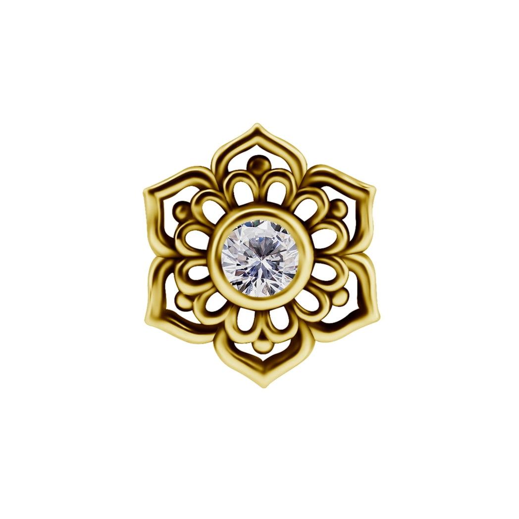 Topp till piercingstav - blomma och swarovskikristall - 18K äkta guld