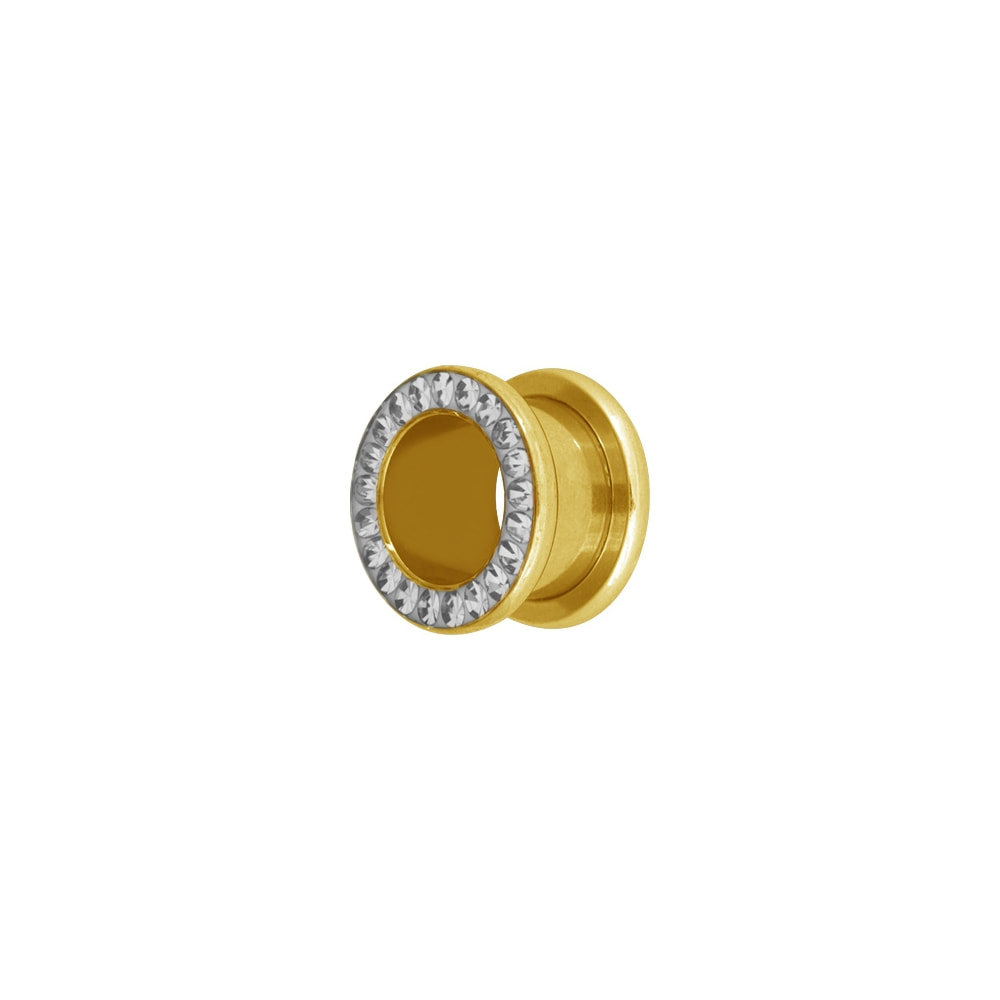 Fleshtunnel - Stora 12-16 mm - stål - guld med vita kristaller