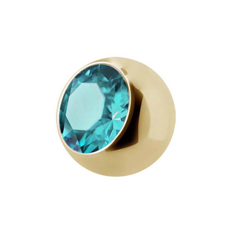 Extra kristall - 1,6 mm - Guld - Ljusblå kristall