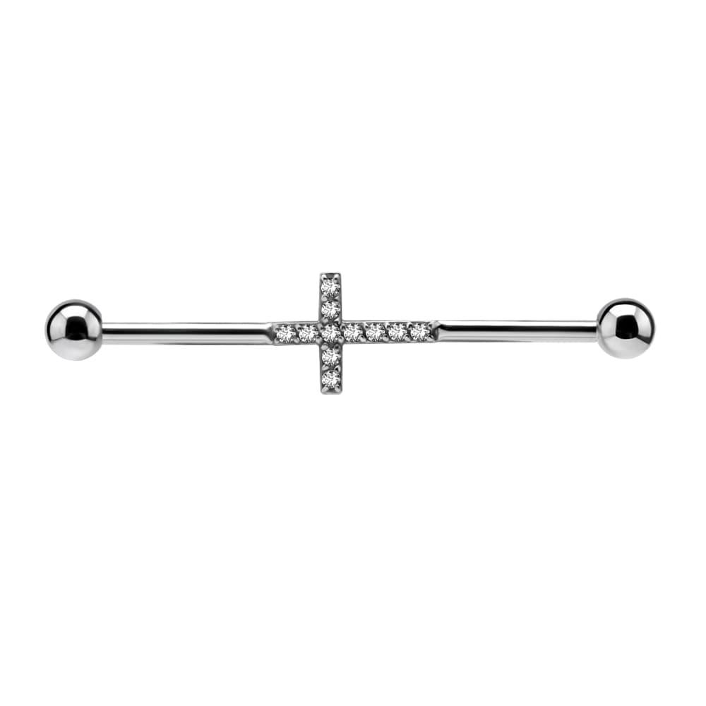 Lång barbell till industrial piercing- kors med kristaller - stål