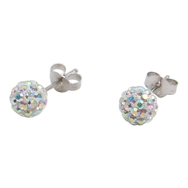 Silverörhängen, 8 mm, pärlemorskimrande swarovskikristaller