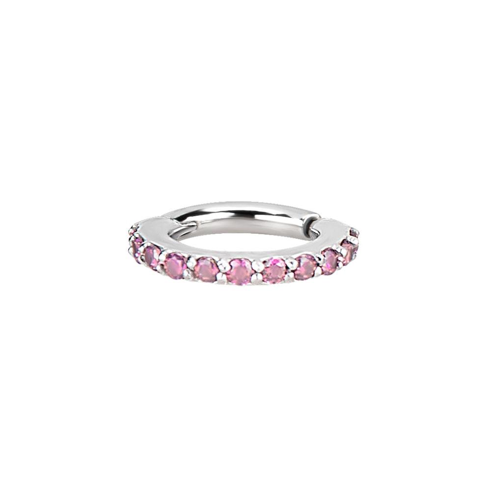 Clicker - small- 1,2 - öppningsbar - stål - rosa kristaller