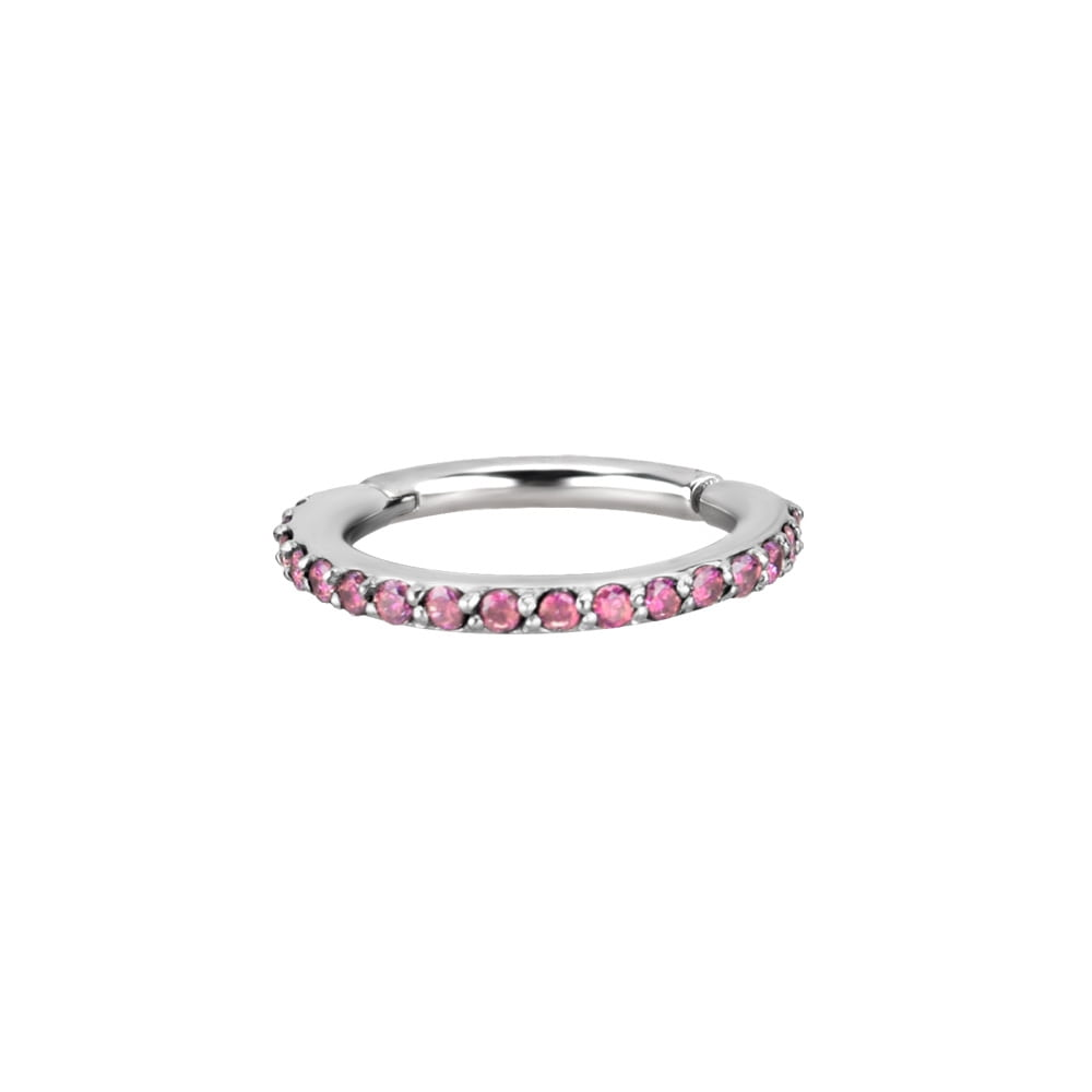 Clicker - large - 1,2 - öppningsbar - stål - rosa kristaller