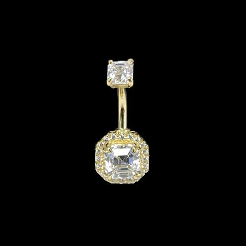Navelpiercing i 18K äkta guld med diamantfattade cubic zirconer