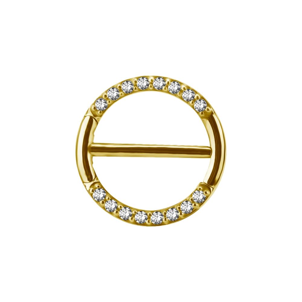 Piercingsmycken - bröstvårta - guld - kristaller