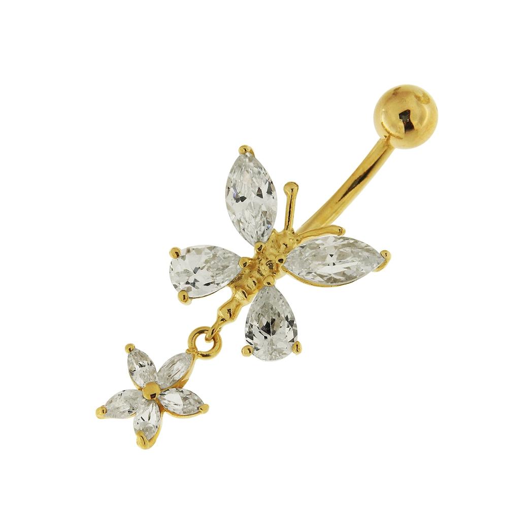 Navelpiercing i äkta guld - fjäril - 14K