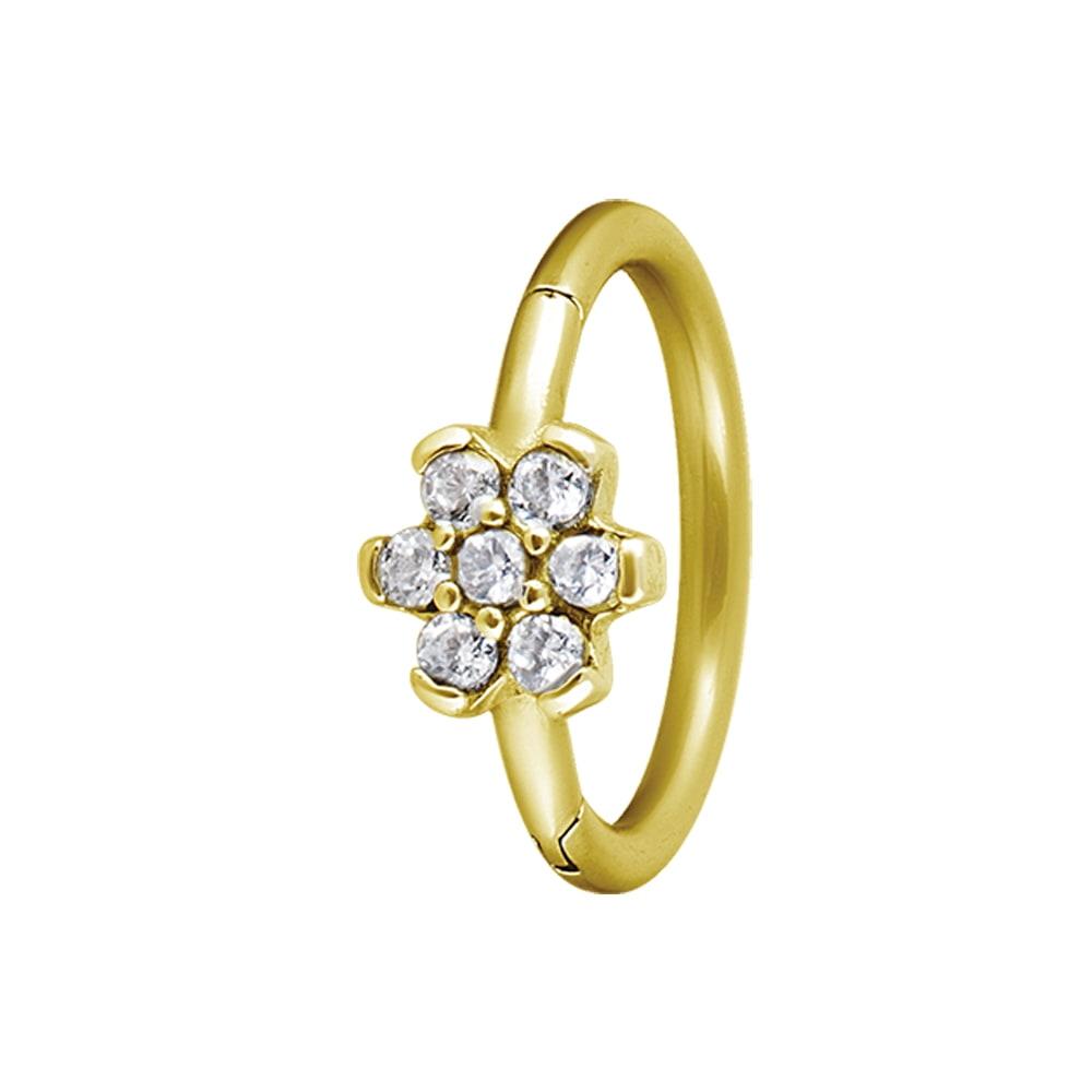 Clicker - 1,2 - guld- blomma vita kristaller