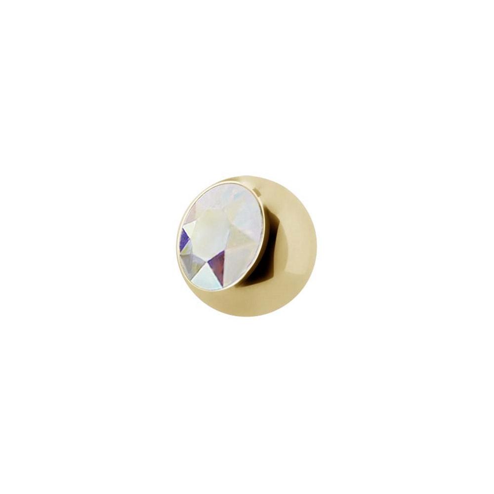 Liten extrakristall - 1,2 mm Guld - Regnbågsskimrande kristall