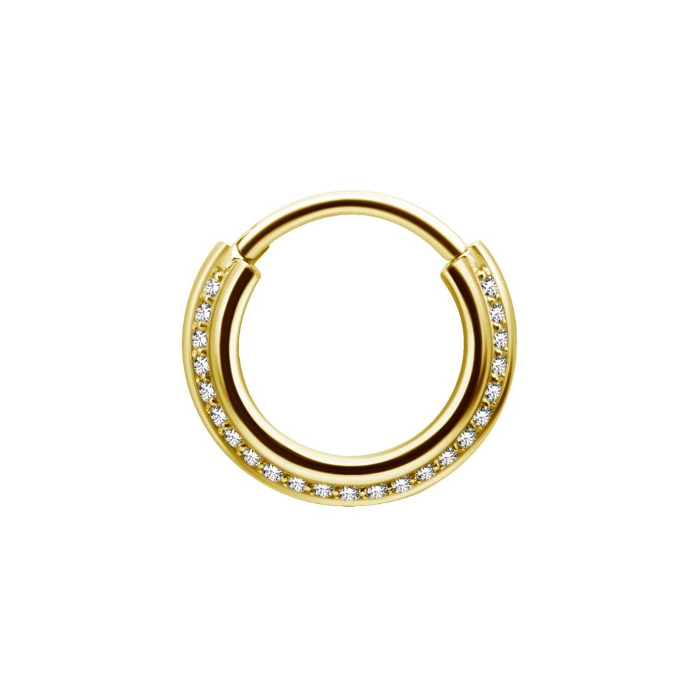 Clicker - 1,2 x 8 mm - rundad med kristaller - guld