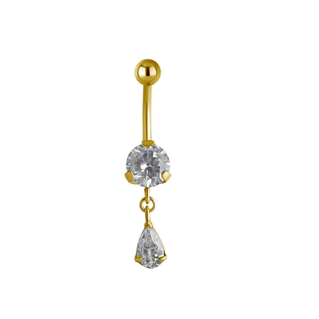 Navelpiercing - kristaller - droppform - guld PVD