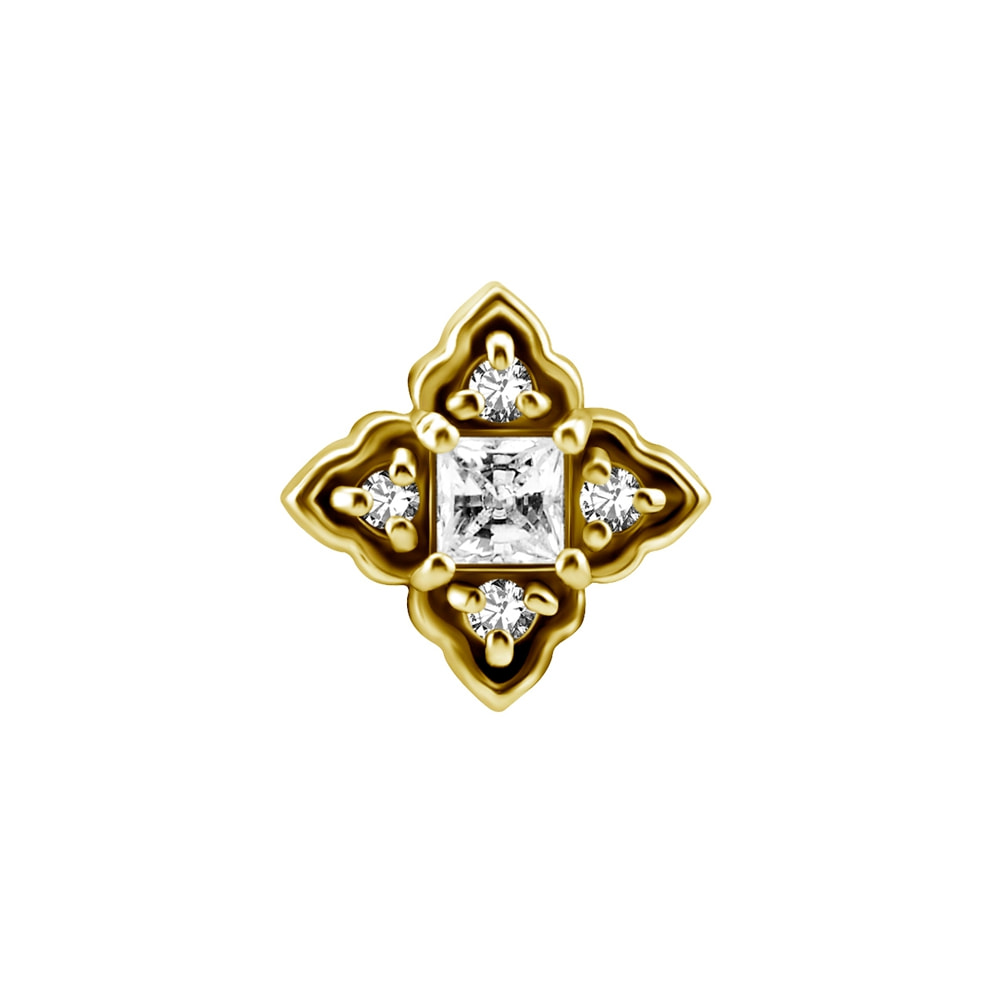 Topp till piercingstav- 18K äkta guld - kvadrat med 4 kristaller