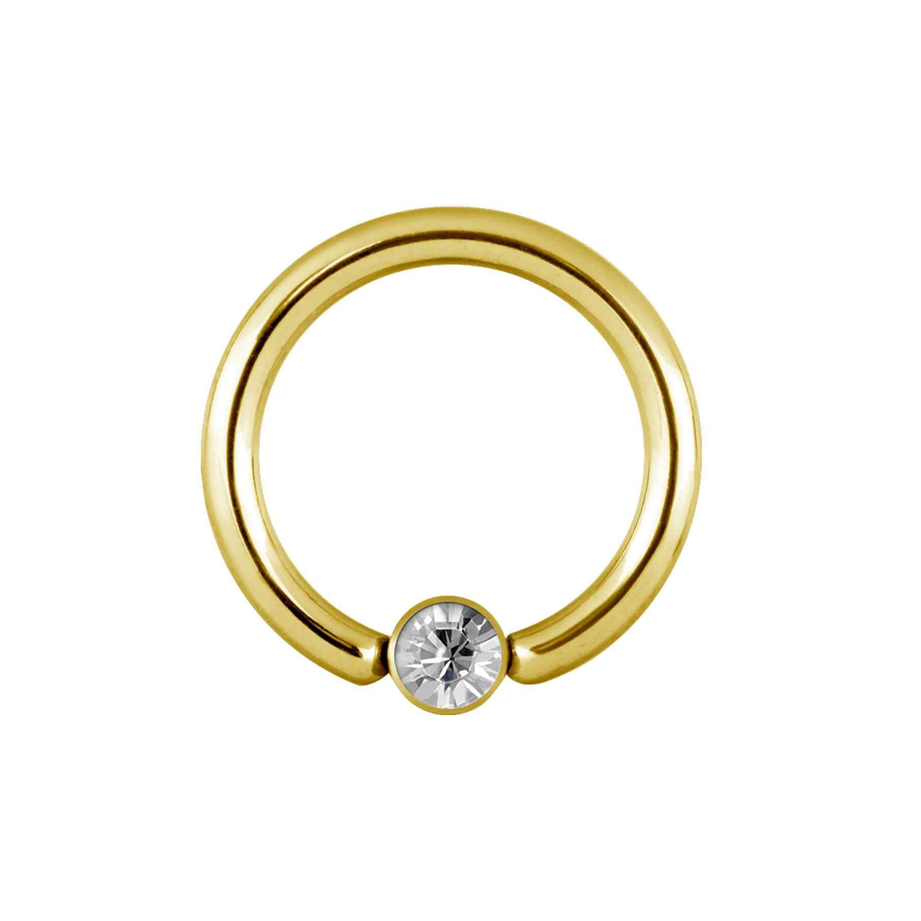Smileypiercing titan 1,2 mm - kristall guldfärgad