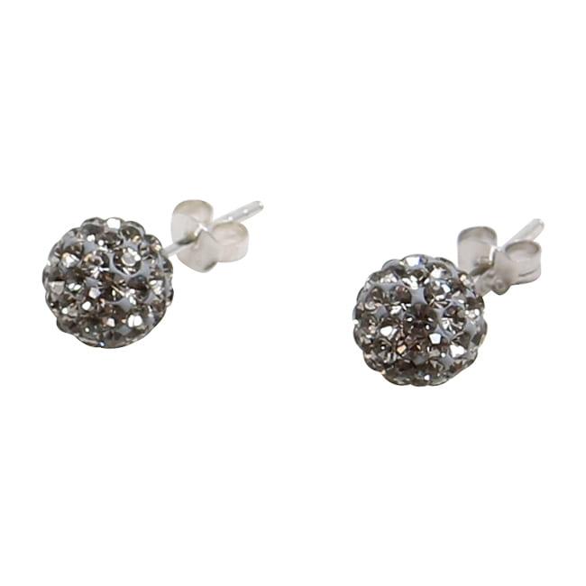 Silverörhängen, 8 mm med antracitgrå swarovskikristaller