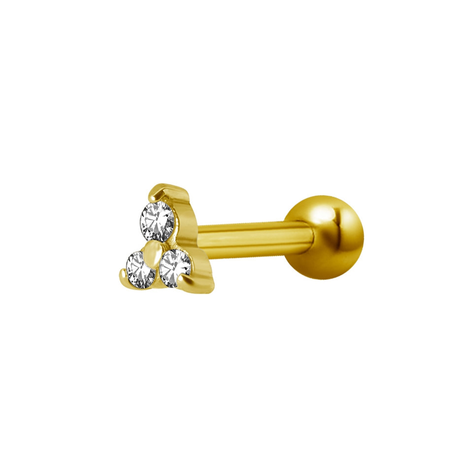 Barbell trinity - 1,2 mm - 3 st vita kristaller - guld