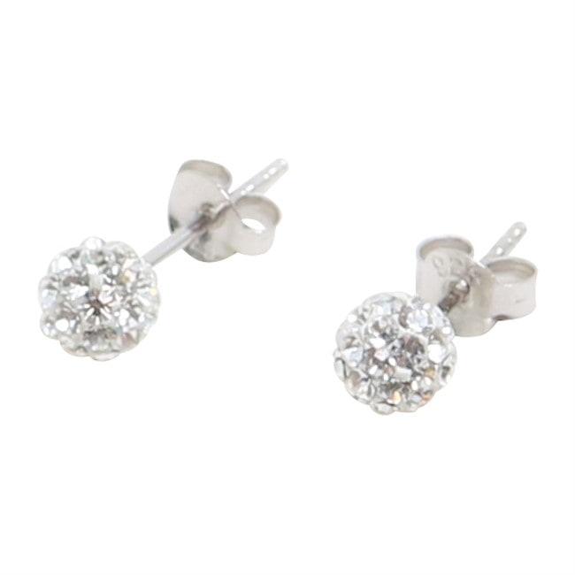 Silverörhängen - 3 mm med vita swarovskikristaller