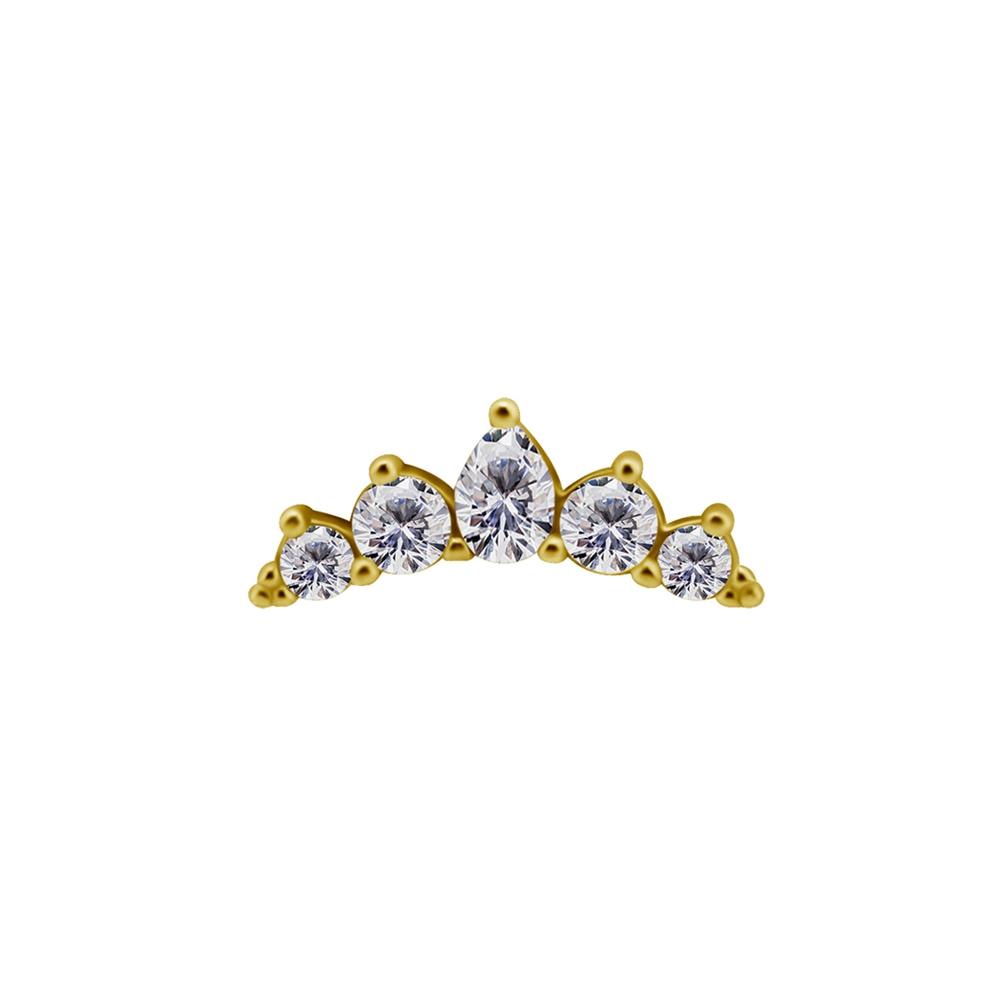 Topp - 18K äkta guld - bågformad med kristaller