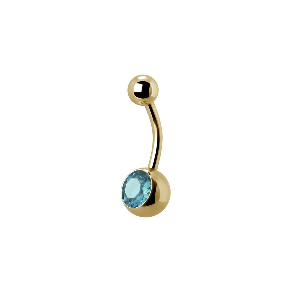 Navelpiercing - 1,6 mm - Guld - Enkel ljusblå kristall