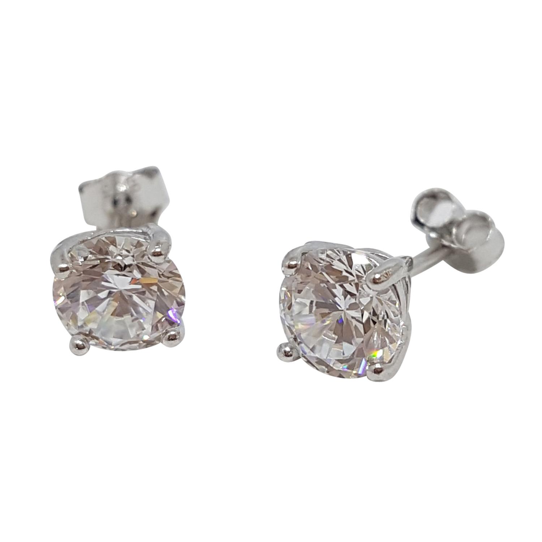 Kristallörhänge, 7 mm, vit kristall - äkta silver