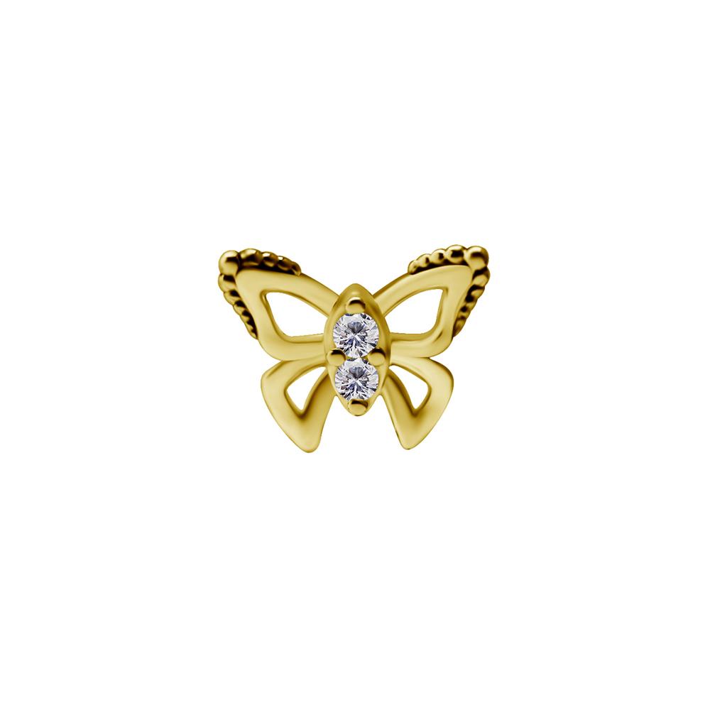 Topp till piercingstav- 18K äkta guld - fjäril