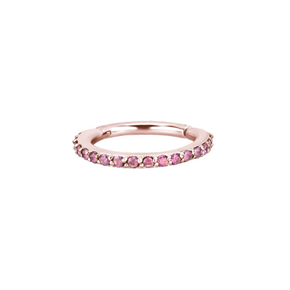 Clicker - large - 1,2 - roséguld - rosa kristaller