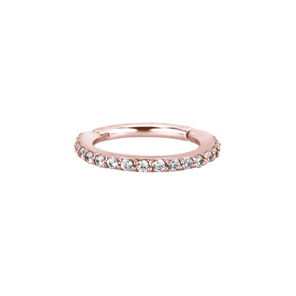 Clicker - large - 1,2 - öppningsbar - roséguld - vita kristaller