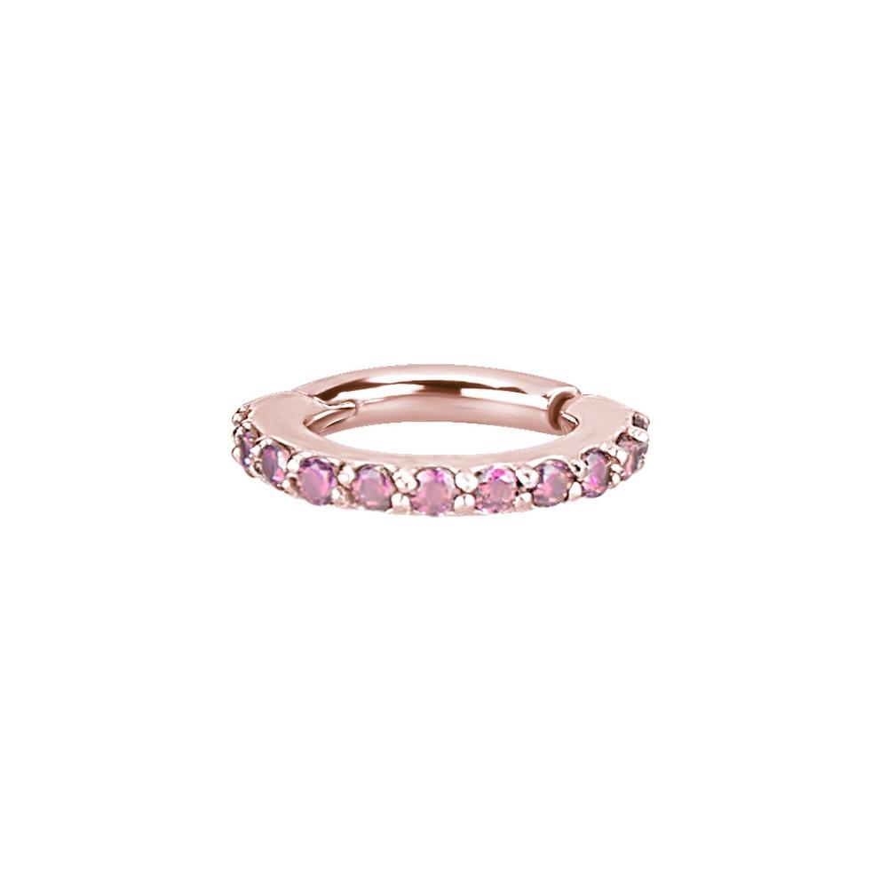 Clicker - small- 1,2 x 6 mm - roséguld - rosa kristaller