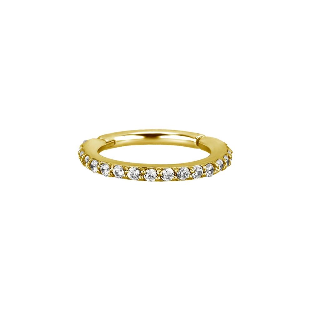 Clicker - 18 K guld - exklusiv piercingring med kristaller 1,2 x 8 mm