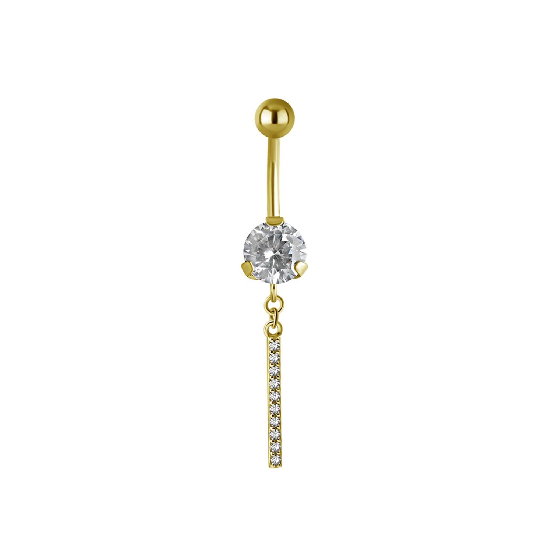 Navelpiercing - stelt kristallhänge - 24K guld PVD