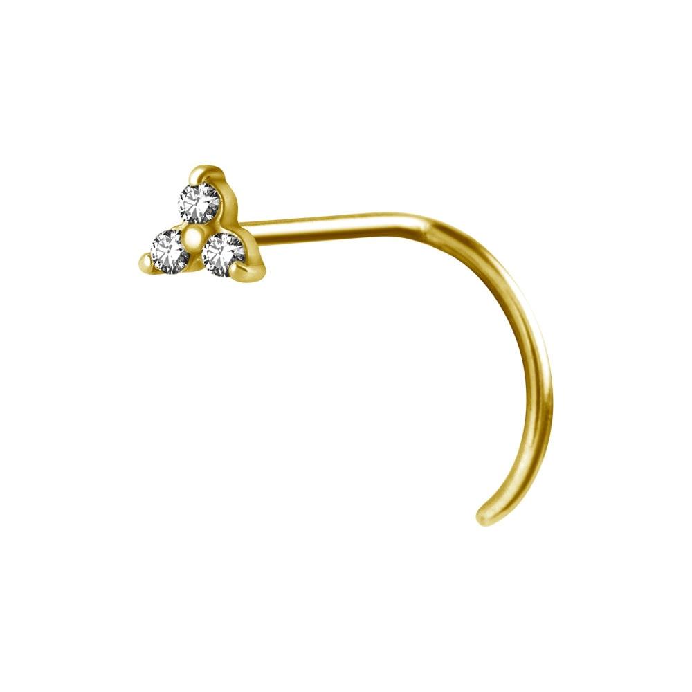 Nässmycke - 0,8 mm - guld - vita kristaller