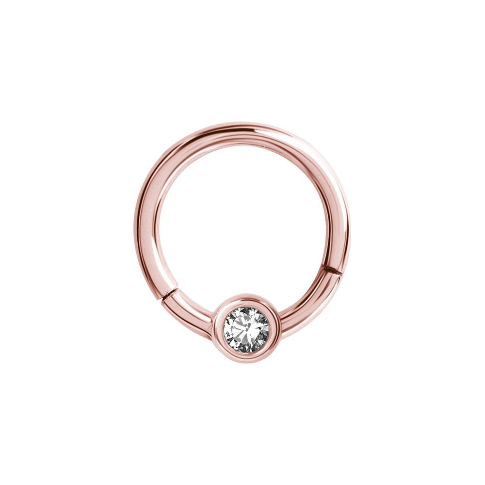 Clicker - 1,2 mm - öppningsbar - roséguld - vit kristall