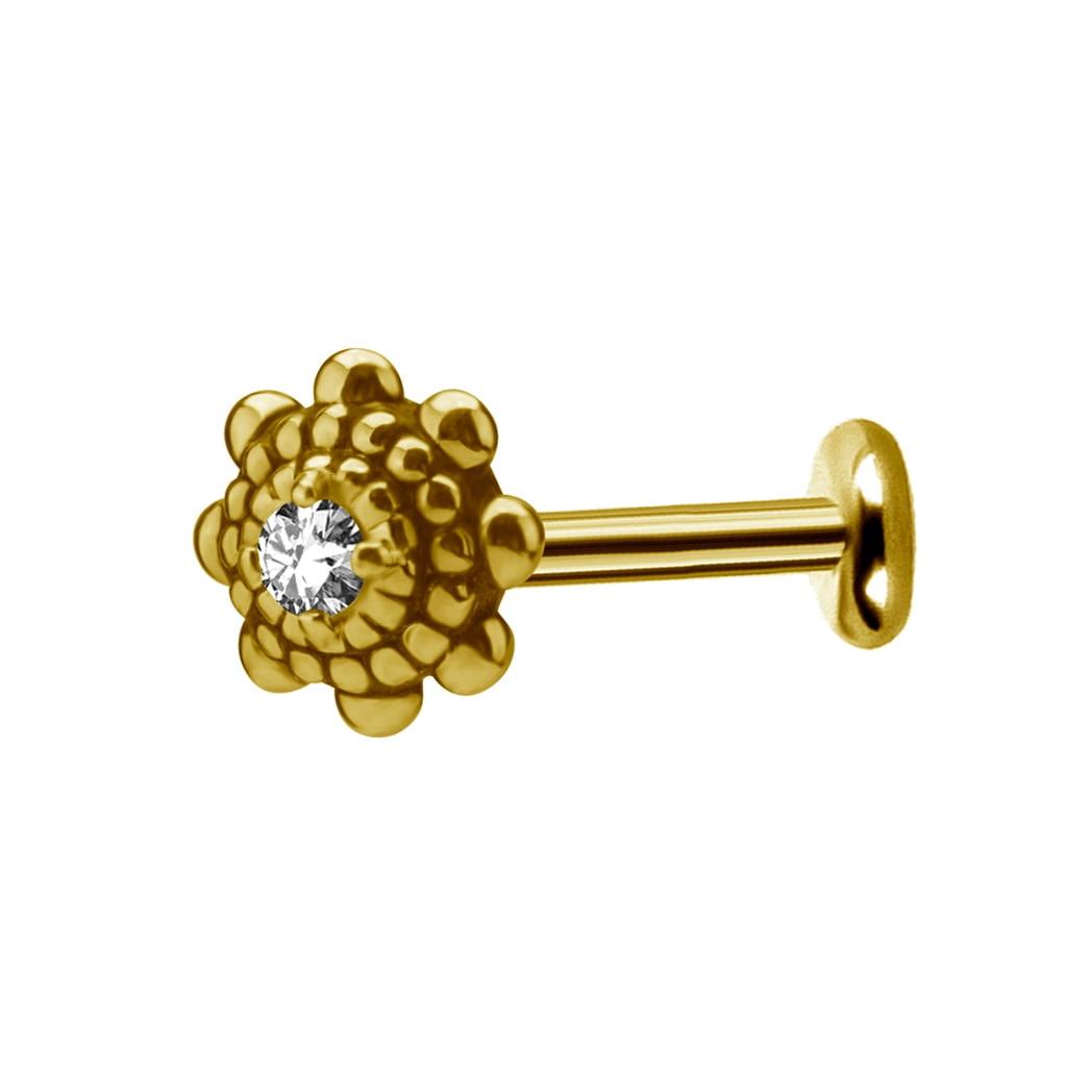 Labret piercing med vackert mönster - kristall - guld