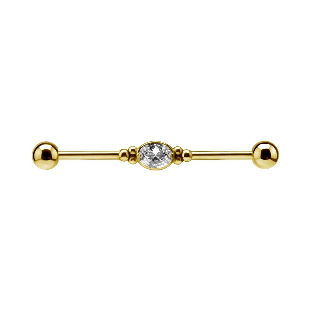 Lång barbell i guld - med kristall